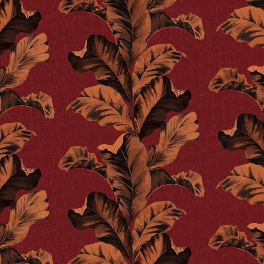 ORIENTAL LEAVES RED WALLPAPER