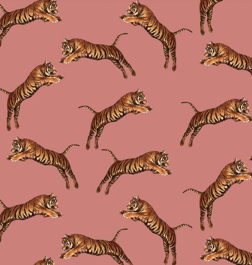 POUNCING TIGERS BLOSSOM WALLPAPER