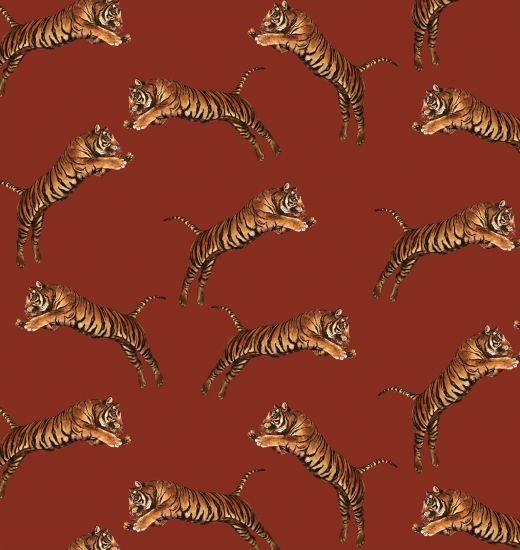 POUNCING TIGERS RED WALLPAPER